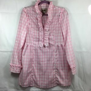 Vintage Oversized Gingham Tunic Top